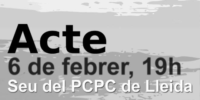 Crònica de l'acte del 30 aniversari del PCPE a Lleida