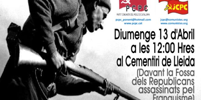 Homenatge als combatents republicans i víctimes del feixisme a Lleida