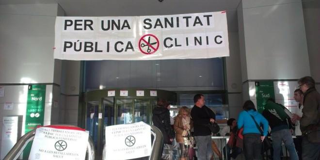 Concentració contra la privatització de l'Hospital Clínic