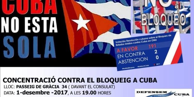 Concentració contra el bloqueig a Cuba