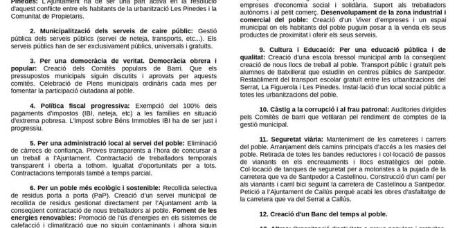 Programa municipal candidatura Castellnou de Bages