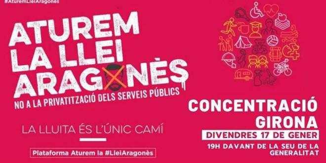 Concentració a Girona contra la Llei Aragonès