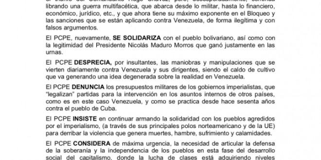 Comunicado del PCPE condenando la incursión mercenaria en Venezuela bolivariana