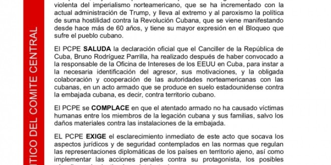 Comunicado del PCPE sobre el atentado contra la embajada cubana en Washington