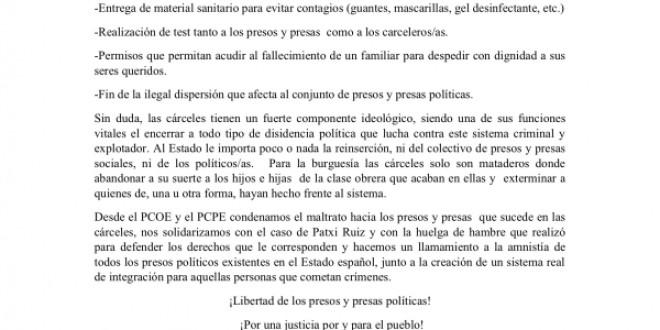 Ni un preso político más en el estado español