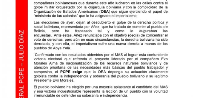 ANTE LA VICTORIA ELECTORAL DEL MAS EN BOLIVIA